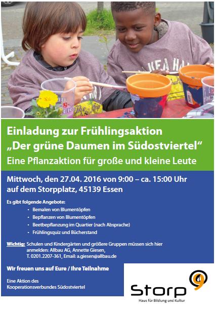 """Einladung zur Frühlingsaktion """"Der grüne Daumen im Südostviertel"""""""